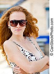 Desgastar, Retrato, óculos de sol, mulher, moda