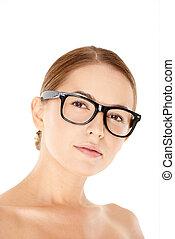 desgastar, retrato, mulher, óculos