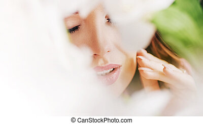 desgastar, retrato, mulher, closeup, chaplet