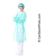 desgastar, roupa protetora, médico feminino