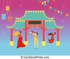desgastar, segurando, chinês, pessoas, dance traje, carnival., ilustração, tradicional, dragon., leão, vetorial, china, lunar, caráteres, ano, novo, ou, parada