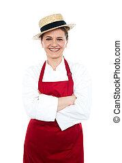 desgastar, senhora, uniforme, cozinheiro, chapéu branco, vermelho