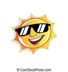 desgastar, sol, óculos de sol, personagem