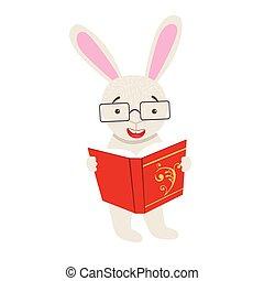 desgastar, sorrindo, animais, personagem, bookworm, jardim zoológico, caricatura, livro, ilustração, coelho, cobrança, parte, leitura, branca, biblioteca, óculos