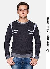 desgastar, suéter, bonito, isolado, homem