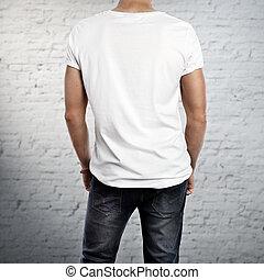 desgastar, t-shirt, homem, em branco