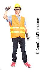 desgastar, trabalhador duro, casaco, segurança, asiático, retrato, chapéu, homem
