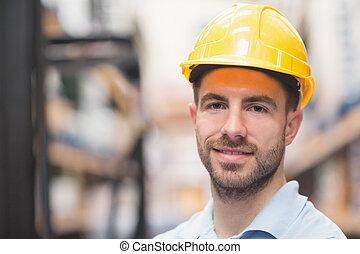 desgastar, trabalhador duro, cima, armazém, fim, chapéu