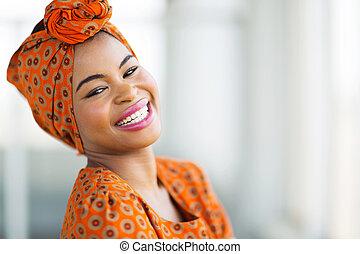 desgastar, tradicional, mulher, africano, ornamentar