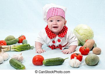 desgastar, uso, conceito, vegetables., bebê, saudável, chapéu, aquilo, cozinheiro, alimento, cozinheiro, fresco, menina, criança