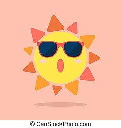 desgastar, verão, óculos de sol, sol