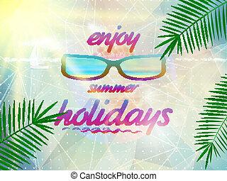 desgastar, verão, sunglasses., céu, sol