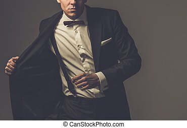 desgastar, vestido, fashionist, arco, casaco, afiado, laço