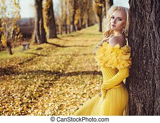 desgastar, vestido, florais, dourado, retrato, loiro