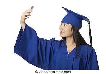 desgastar, vestido, smartphone, salfie, azul, graduação, mulher, asiático, usando, mesma, tomar