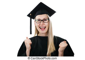 desgastar, vestido, universidade, boné, isolado, graduado, branca, feliz
