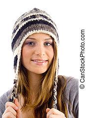 desgastar, woolen, boné, atraente, femininas, retrato