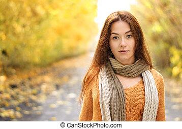 desgastar, woolen, mulher, accessories., retrato, sorrindo
