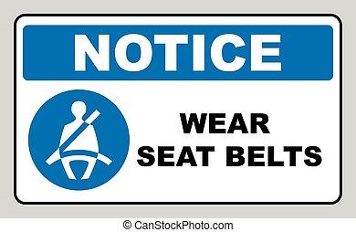 desgaste, cintos segurança, sinal