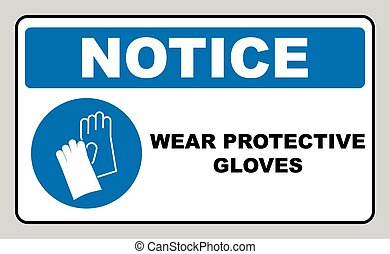 desgaste, luvas, -, segurança, sinal, sinal aviso