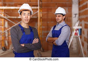 desgaste, trabalho, construtores, dois