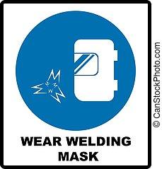 desgaste, um, máscara welding