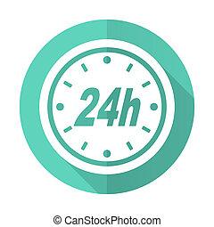 desgn, błękitne tło, 24h, ikona, koło, cień, płaski, długi, biały