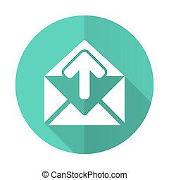 desgn, błękitne tło, ikona, koło, cień, płaski, długi, email, biały