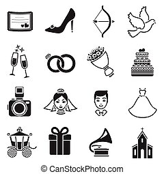 desherbar, conjunto, iconos, en, negro, style., grande, colección, boda, vector, símbolo, ilustración común