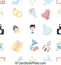 desherbar, patrón, iconos, en, caricatura, style., grande, colección, boda, vector, símbolo, ilustración común