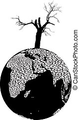 Desiccated planet Earth - Illustration of full-scale global...