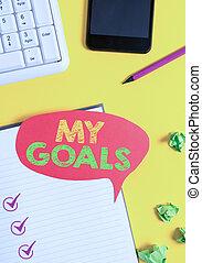 desiderato, dimostrare, goals., testo, rosso, futuro,...