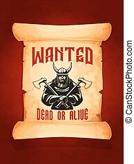 desiderato, morto, o, vivo, guerriero, viking, vettore, manifesto