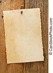 desiderato, vecchio, cowboy, segno, rustico, invecchiato, pergamena
