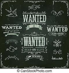 desiderato, vendemmia, occidentale, bandiere, su, lavagna