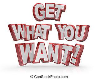 desiderio, cosa, scopo, volere, ottenere, parole, obiettivo, lei, 3d