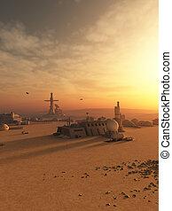 desierto, avanzada, en, un, extranjero, planeta