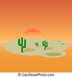 desierto, bandera, caricatura, paisaje, diseño