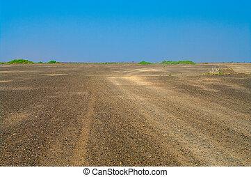 desierto, camino, africano