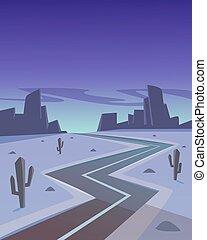 desierto, camino, por la noche