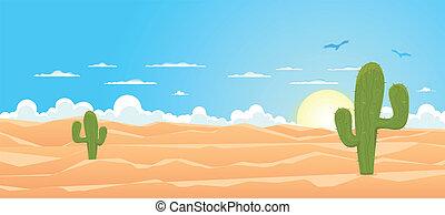 desierto, caricatura, de par en par