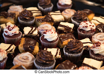 desierto, chocolate, bandeja