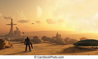 desierto, ciencia ficción, aldea