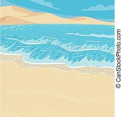 desierto, costero, ilustración