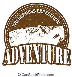 desierto, expedición, aventura, estampilla