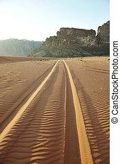 desierto, jordania, wadi, camino, ron