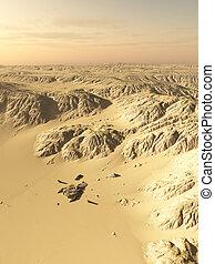 desierto, nave espacial, choque, sitio