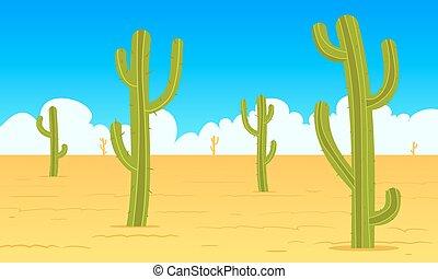 desierto, paisaje, caricatura