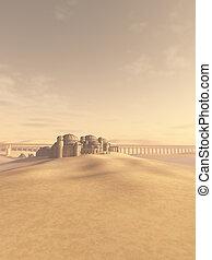 desierto, pueblo, swallowed, por, el, arena