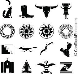 desierto, suroeste, iconos
